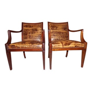Desert Haze Distressed Leather Armchairs - a Pair