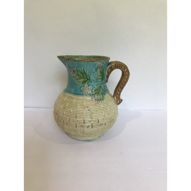 Majolica Strawberry Basket Pitcher For Sale - Image 11 of 11