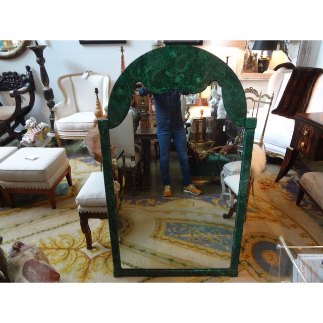 Stunning Italian Hollywood Regency faux malachite lacquered wood mirror. Well-made, faux design very realistic, Circa. 1960