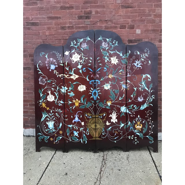 1940's Era Vintage Painted Folding Screen For Sale - Image 11 of 11