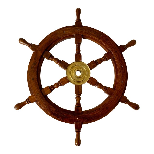 1960s Vintage Nautical Brass & Wood Maritime Boat Steering Wheel For Sale