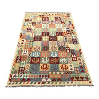 Nomad's Afghan Modern Traditional Chobi Kilim Rug - 6′5″ × 9′8″ For Sale