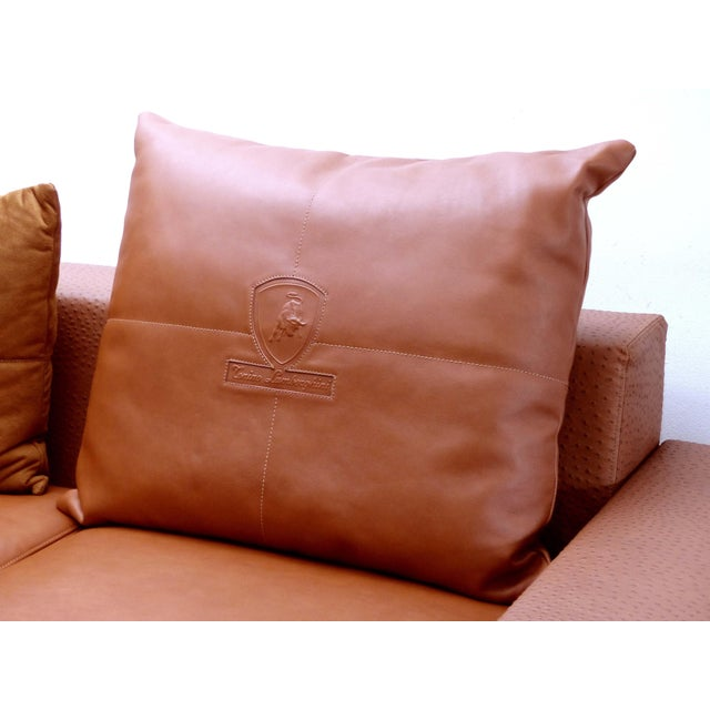 Brown Casa Tonino Lamborghini Pilot Collection Sofa in Leather, Ostrich and Suede For Sale - Image 8 of 13