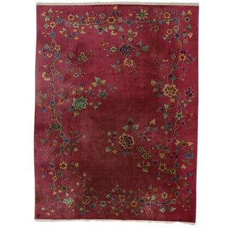 Fuchsia-Raspberry, Early 20th Century Antique Chinese Art Deco Rug For Sale