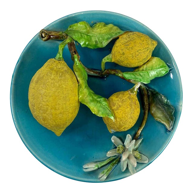 Menton French Majolica Wall Plaque Turquoise With Lemons by J. Saissi Circa 1880 For Sale