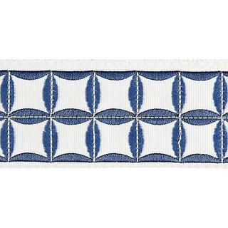 Sample, Scalamandre Fiori Embroidered Tape, Delft For Sale