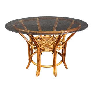 Mid Century Rattan Dining Table For Sale