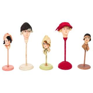 Set of Five Papier Mache Flapper Hat Stands For Sale