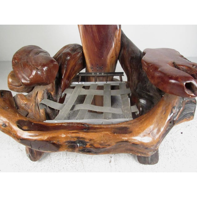 Mid 20th Century Primitive Live Edge Sculptural Wood Throne Chair For Sale - Image 5 of 11