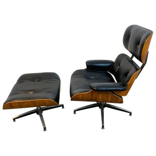 1970s Canadian Made Eames Style Lounge Chair and Ottoman, by Northfield For Sale