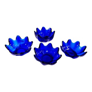 Blenko Handcraft Cobalt Blue Glass Molded Floriform Bowls - Set of 4