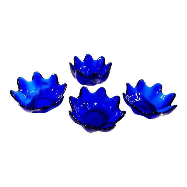 Blenko Handcraft Cobalt Blue Glass Molded Floriform Bowls - Set of 4 For Sale