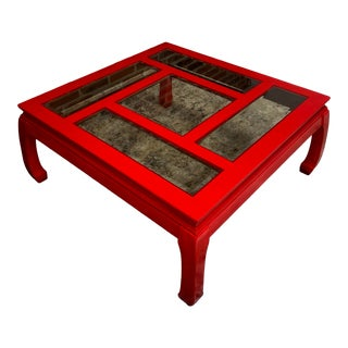 Studio 60 Asian Style Red Lacquered Coffee Table For Sale