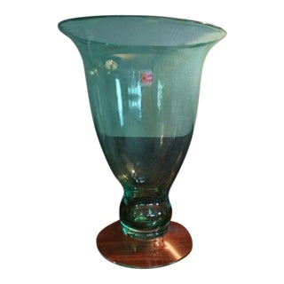 1999 Blenko 9922s Antique Green Pedestal Vase For Sale