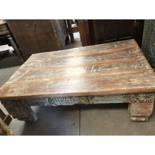 Antique chai Table made from reclaimed woods, carved sides and a smooth finished top, vintage wood rustic farmhouse table,...