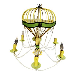 Rare Lampadari 1960s Italian Vintage Regency Handpainted Hot Air Balloon Palm 6-Light Chandelier