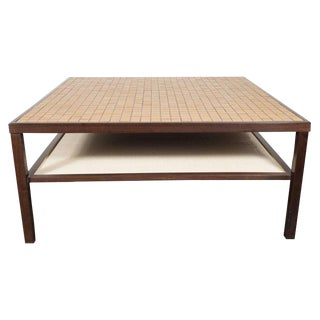 Mid-Century Modern Tile, Lacquered Linen & Walnut Cocktail Table by Gordon Martz For Sale