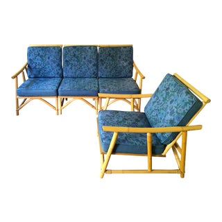 1960's John Wisner Ficks Reed 4 Piece Rattan / Bamboo Sofa Chair Set For Sale