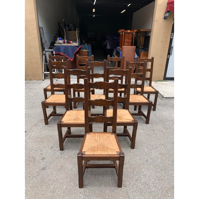 1910s French Louis Philippe Rush Seat Solid Walnut Dining Chairs - Set of 10 For Sale - Image 13 of 13