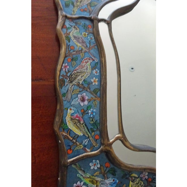 Mid 20th Century Reverse Glass Hand-Painted Bird Mirror For Sale - Image 5 of 9