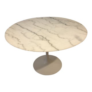 White Carrara Marble Dining Table For Sale
