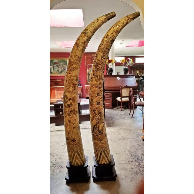 Asian 20th Century Chinese Profusely Handcarved Faux Elephant Tusks - a Pair For Sale - Image 3 of 12