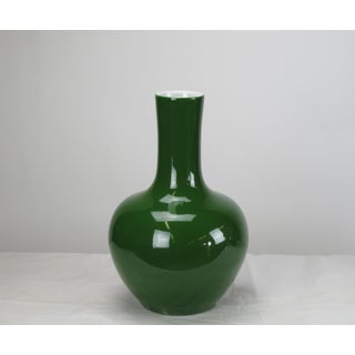 Asian Modern Dark Green Long Neck Porcelain Vase Preview