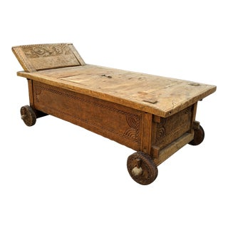 "Indonesian Primitive Jodang Chest Trunk Coffee Table - 76"" For Sale"