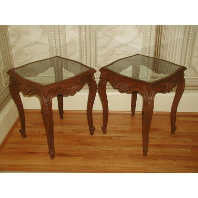 French 19th C. Walnut & Glass Tables - Image 2 of 7