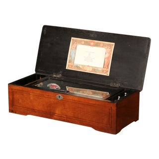 19th Century Swiss Wood Inlaid and Ebonized Cylinder Music Box With Ten Songs For Sale