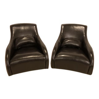 Custom Club Leather Arm Chairs - A Pair For Sale