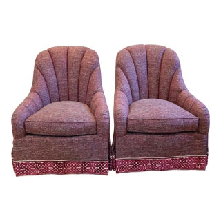 Hickory White Channeled Back Lounge Chairs - A Pair For Sale