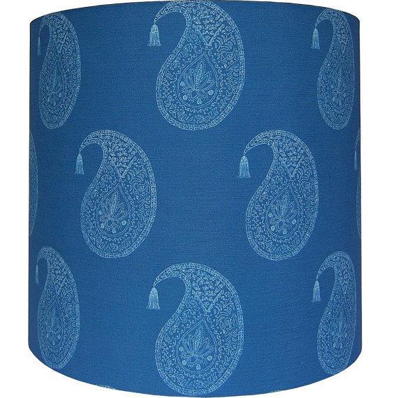 Blue wood block paisley drum lamp shade chairish blue wood block paisley drum lamp shade image 2 of 4 aloadofball Gallery