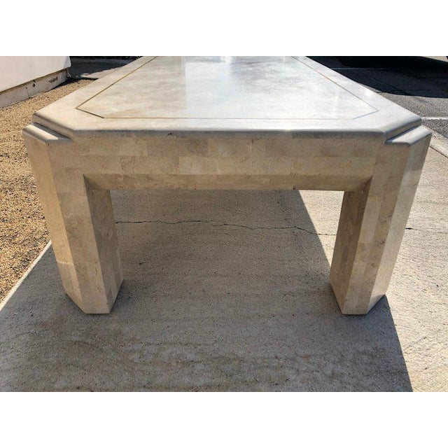 Fossil Stone and Brass Cocktail Table by Maitland Smith For Sale In Palm Springs - Image 6 of 8