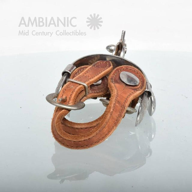 Country Pair of Spurs With Saddle Leather Straps For Sale - Image 3 of 8
