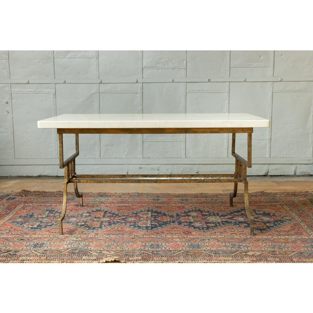 French 1940s Gilt Iron Coffee Table With Marble Top For Sale In New York - Image 6 of 9