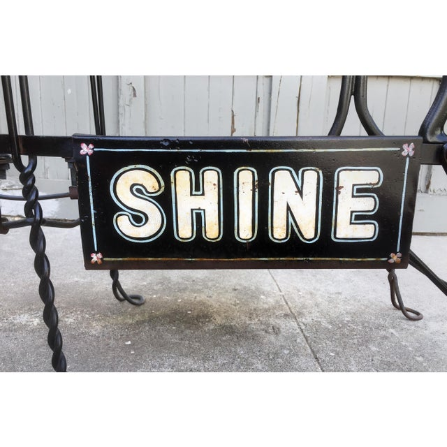 Industrial Antique Twisted Iron Shoe Shine Stand For Sale - Image 3 of 7