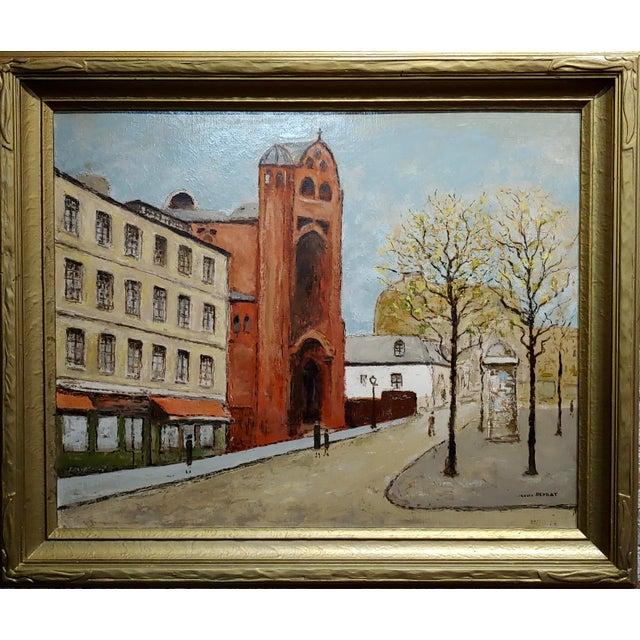 "Louis Peyrat -Paris street scene - Oil painting oil painting on canvas -Signed circa 1976 frame size 35 x 30"" canvas size..."