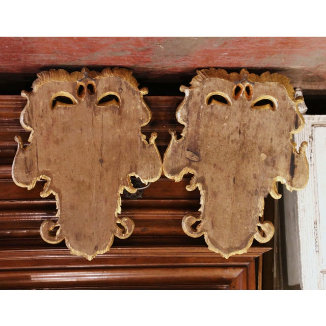 Gold Early 20th Century Italian Carved Gilt and Painted Wall Hanging Shields - a Pair For Sale - Image 8 of 9