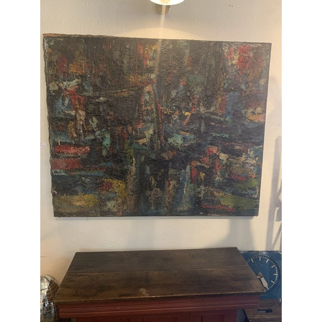 "1960s Vintage Joo-Yon Ohm Ceerderberg ""Midnight Fire"" Large Abstract Painting For Sale - Image 4 of 9"