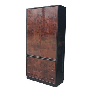 Vintage Henredon Scene III Black Lacquer & Burled Walnut Armoire For Sale