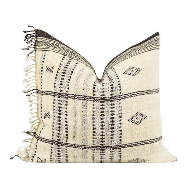 Boho Chic Cream Indian Wool Blanket Pillow For Sale