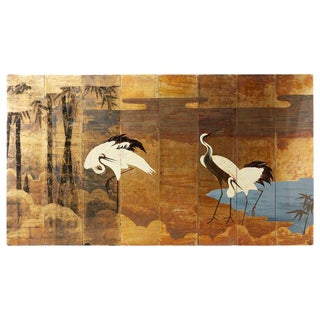 Contemporary Japanese Eight Panel Crane Landscape Screen For Sale
