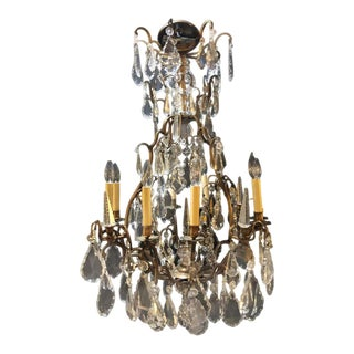 19/20 Th Century 8-Light 12-Arm Bronze and Multifaceted Cut Crystal Chandelier For Sale