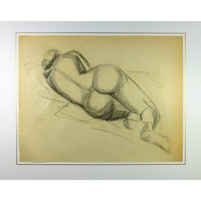 Classic nude charcoal sketch of back of figure laying on side by French artist A. Delamaire, circa 1930. Original artwork...