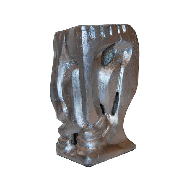 Abstract Art Deco Plaster Carved Bust For Sale