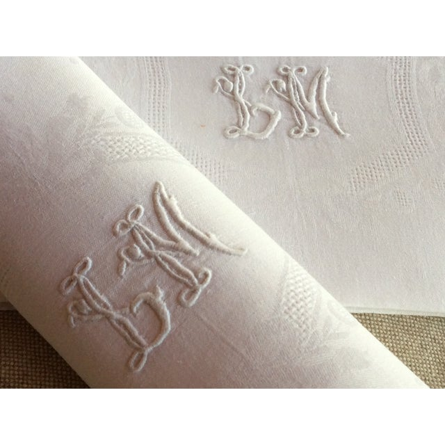 Late 19th Century Antique French Linen Napkins - A Pair For Sale - Image 6 of 10