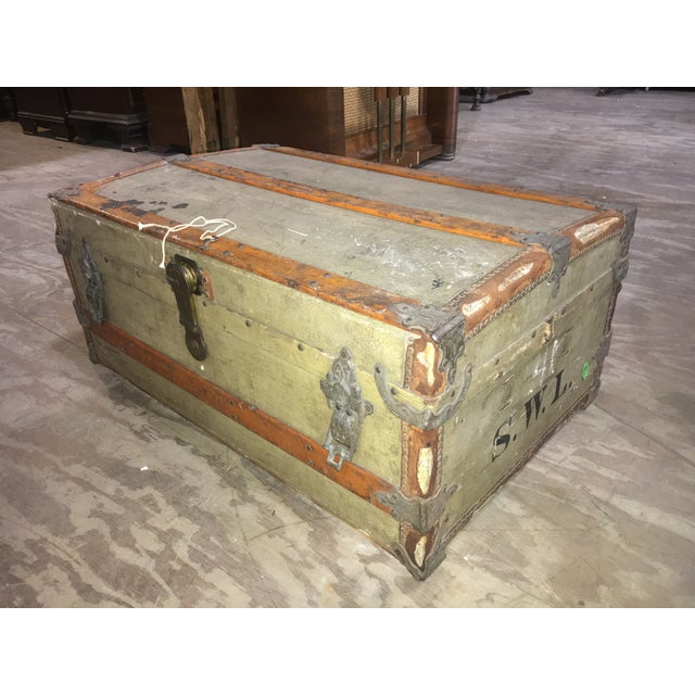 Antique Flat Top Trunk with original key! Maker's mark (C & F) is on the hardware as well as written out on the lock & a...
