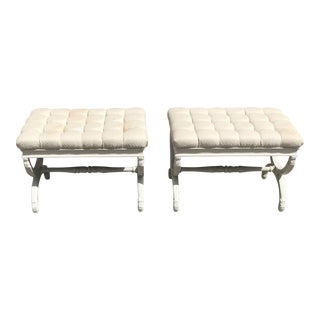 1900s Vintage French Louis XVI Barrel Legs Seating Benches- a Pair For Sale