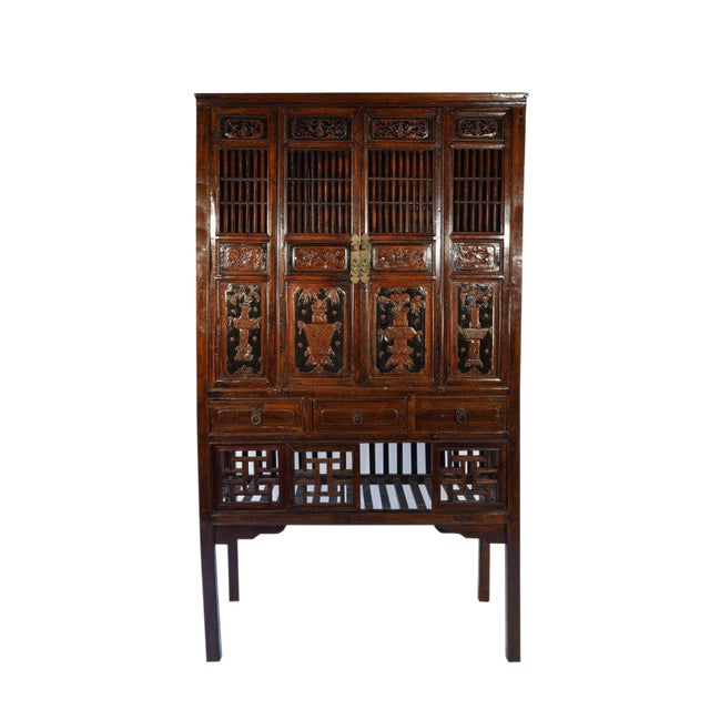 Detailed Chinese Hardwood Cabinet or Liquor Cabinet With Brass Handles and  Carved Decorations